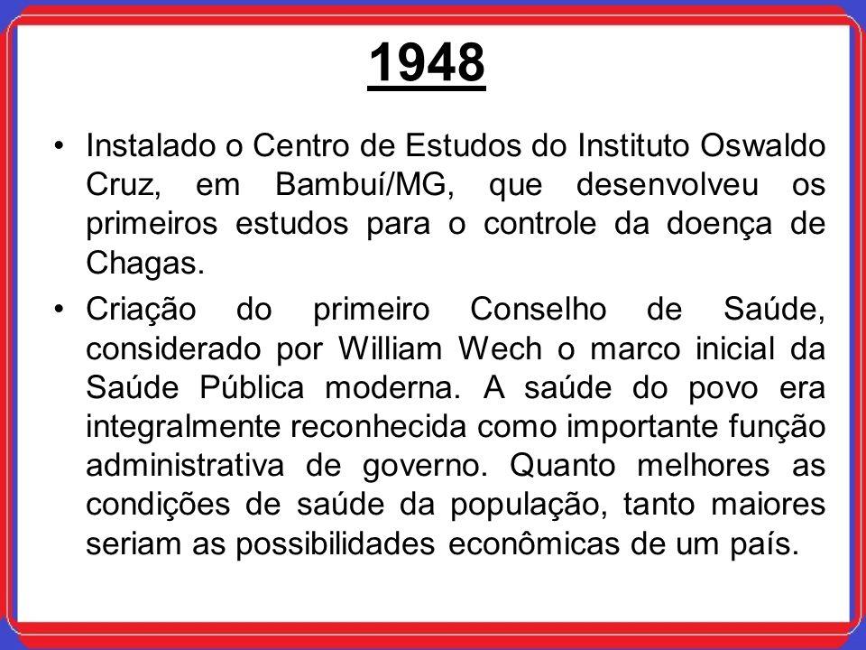 1948Instalado o Centro de Estudos do Instituto Oswaldo Cruz, em Bambuí/MG, que desenvolveu os primeiros estudos para o controle da doença de Chagas.