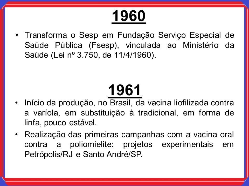 1960Transforma o Sesp em Fundação Serviço Especial de Saúde Pública (Fsesp), vinculada ao Ministério da Saúde (Lei nº 3.750, de 11/4/1960).