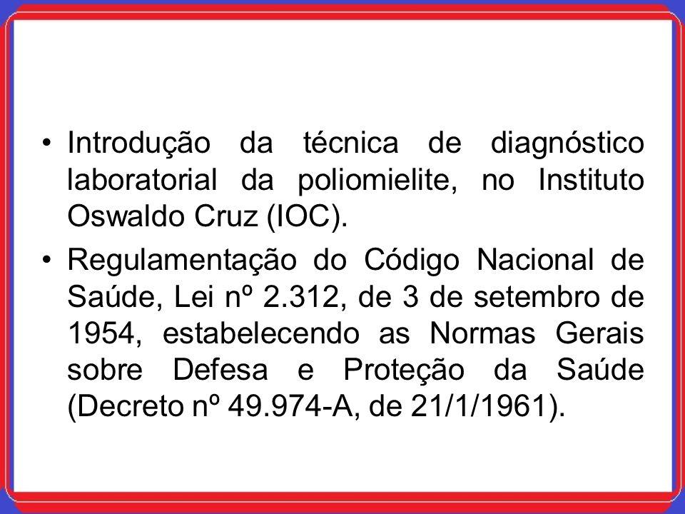 Introdução da técnica de diagnóstico laboratorial da poliomielite, no Instituto Oswaldo Cruz (IOC).
