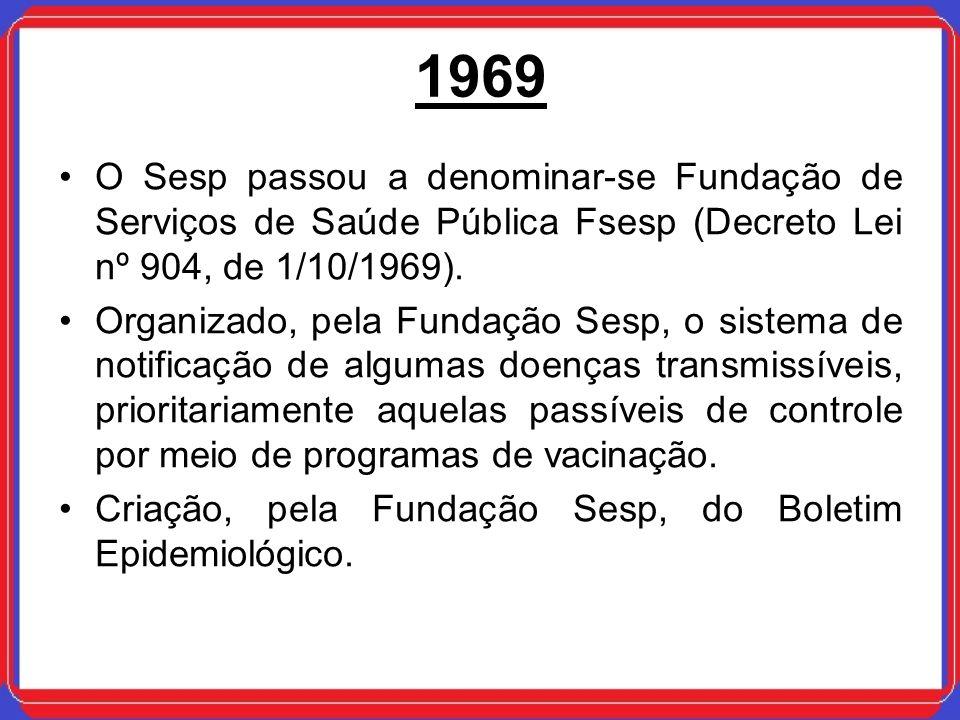 1969 O Sesp passou a denominar-se Fundação de Serviços de Saúde Pública Fsesp (Decreto Lei nº 904, de 1/10/1969).
