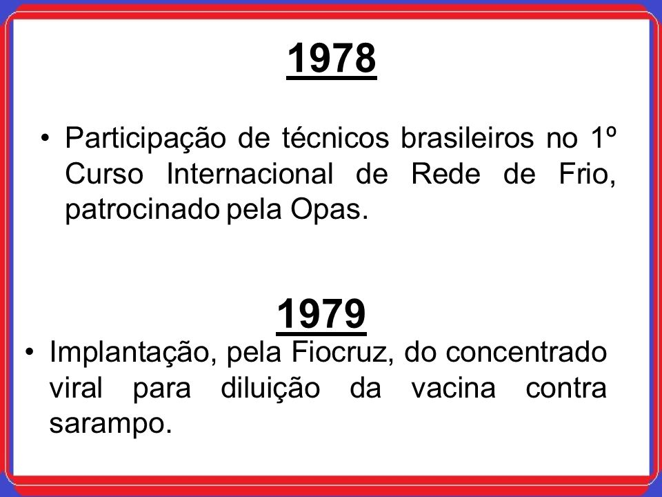 1978 Participação de técnicos brasileiros no 1º Curso Internacional de Rede de Frio, patrocinado pela Opas.