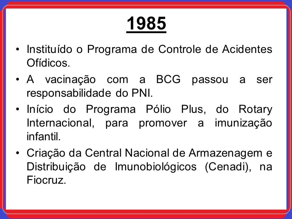 1985 Instituído o Programa de Controle de Acidentes Ofídicos.