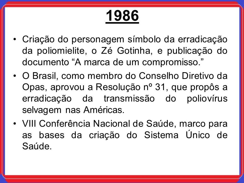 1986Criação do personagem símbolo da erradicação da poliomielite, o Zé Gotinha, e publicação do documento A marca de um compromisso.