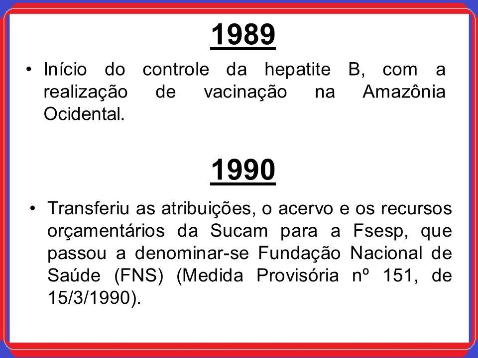1989 Início do controle da hepatite B, com a realização de vacinação na Amazônia Ocidental. 1990.