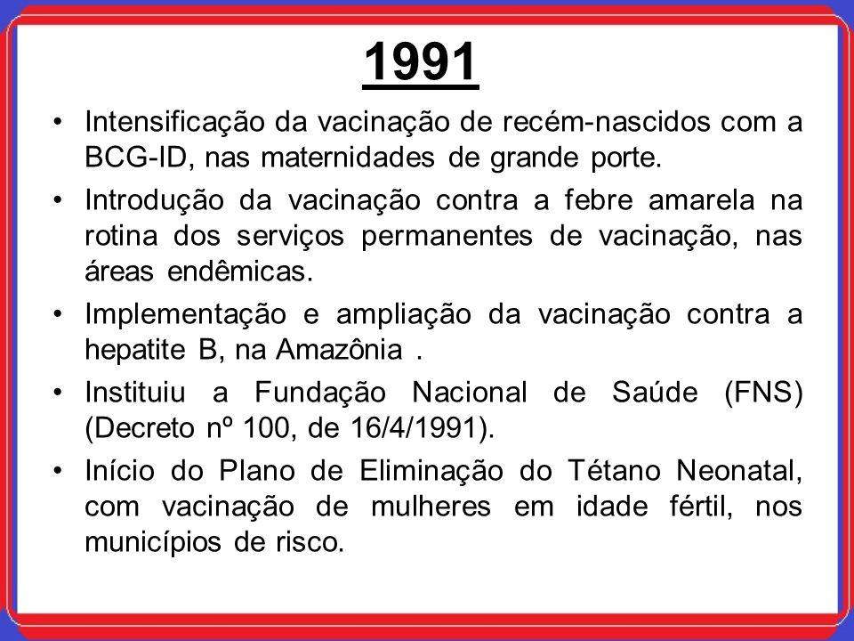 1991Intensificação da vacinação de recém-nascidos com a BCG-ID, nas maternidades de grande porte.