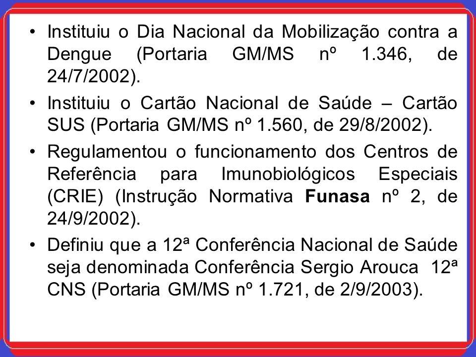 Instituiu o Dia Nacional da Mobilização contra a Dengue (Portaria GM/MS nº 1.346, de 24/7/2002).