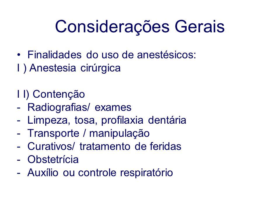 Considerações Gerais Finalidades do uso de anestésicos: