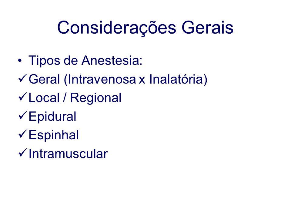 Considerações Gerais Tipos de Anestesia: