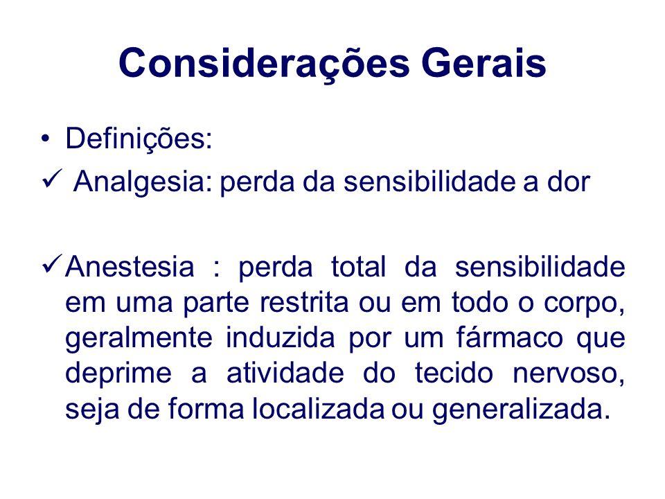 Considerações Gerais Definições: