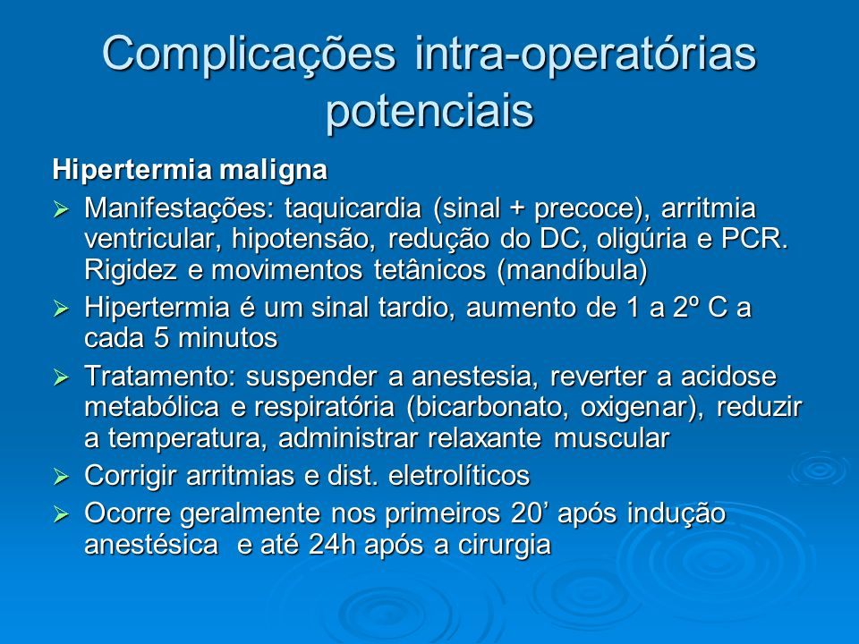 Complicações intra-operatórias potenciais