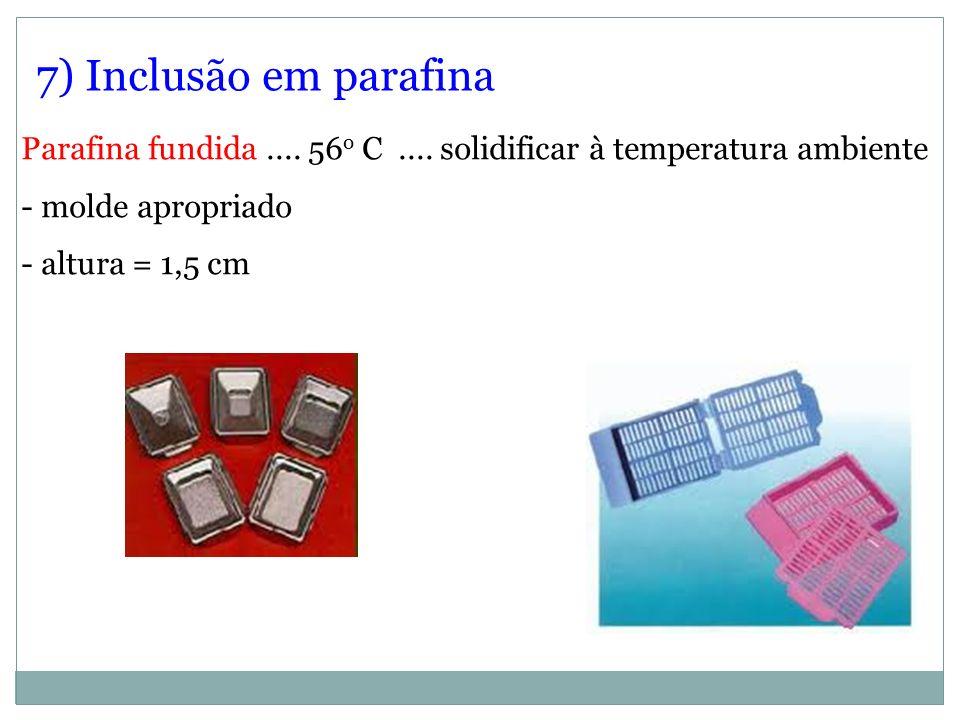 7) Inclusão em parafinaParafina fundida .... 56o C .... solidificar à temperatura ambiente. - molde apropriado.