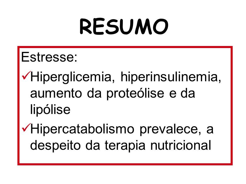RESUMO Estresse: Hiperglicemia, hiperinsulinemia, aumento da proteólise e da lipólise.