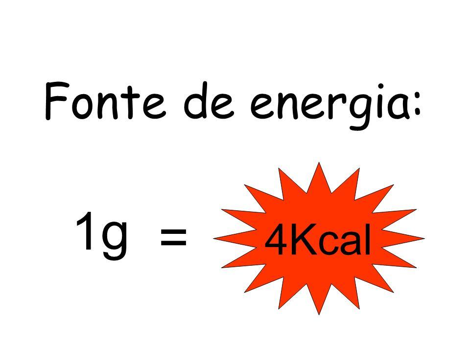 Fonte de energia: 4Kcal 1g =