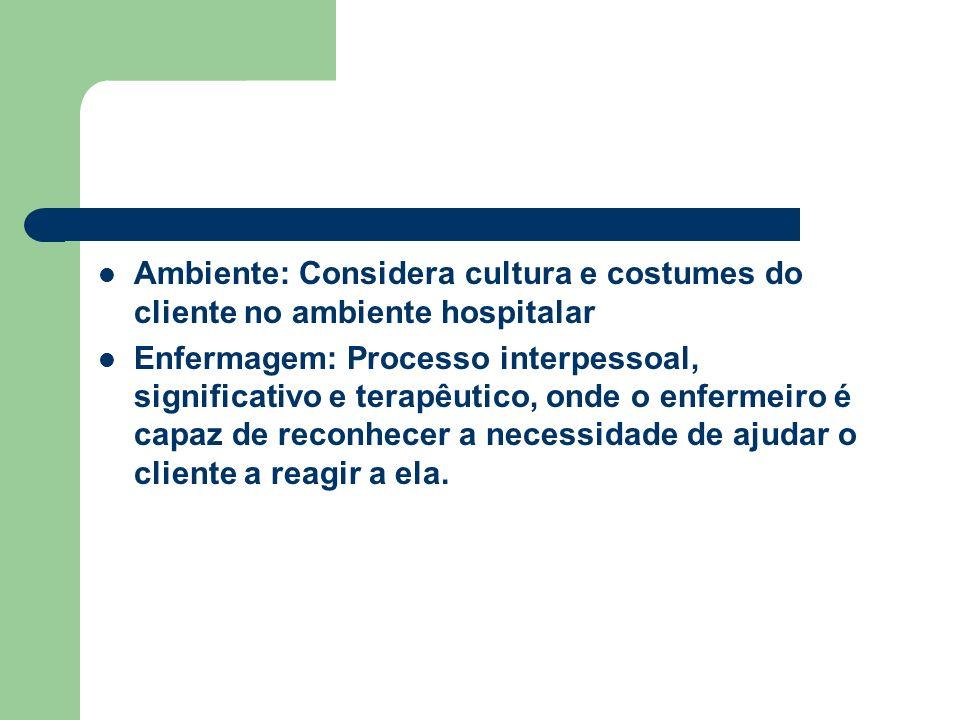Ambiente: Considera cultura e costumes do cliente no ambiente hospitalar