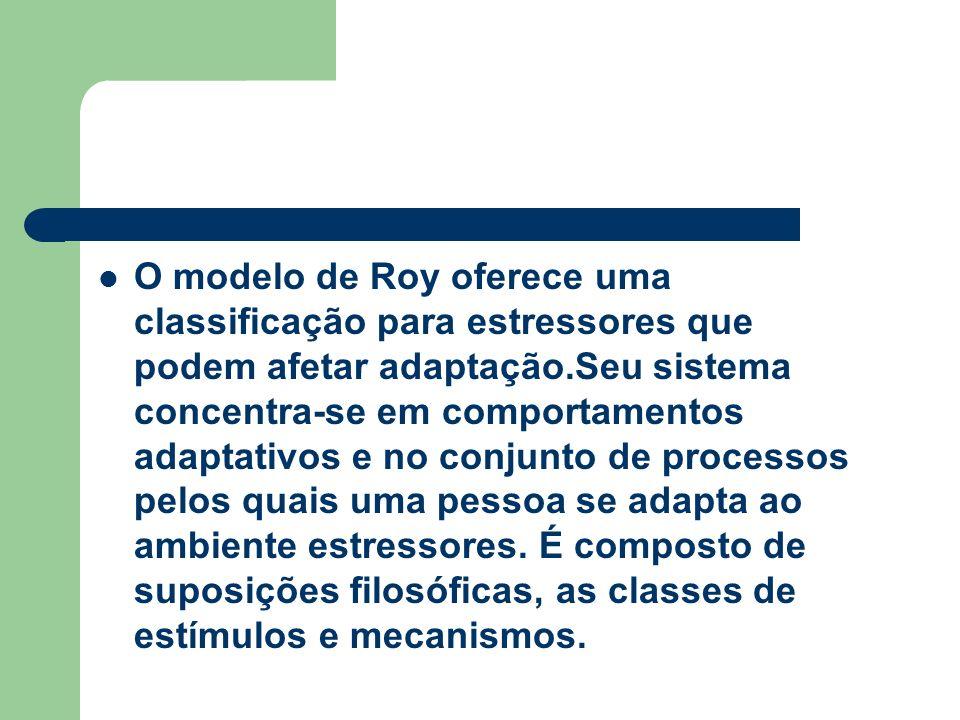 O modelo de Roy oferece uma classificação para estressores que podem afetar adaptação.Seu sistema concentra-se em comportamentos adaptativos e no conjunto de processos pelos quais uma pessoa se adapta ao ambiente estressores.