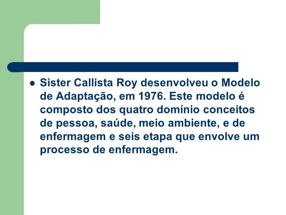 Sister Callista Roy desenvolveu o Modelo de Adaptação, em 1976