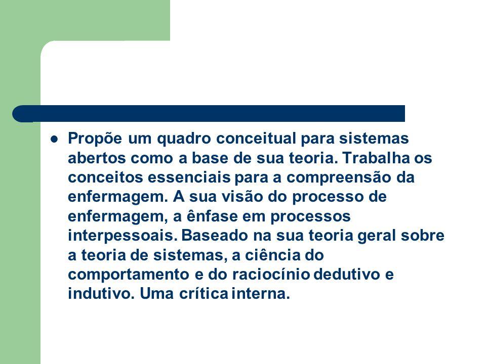 Propõe um quadro conceitual para sistemas abertos como a base de sua teoria.