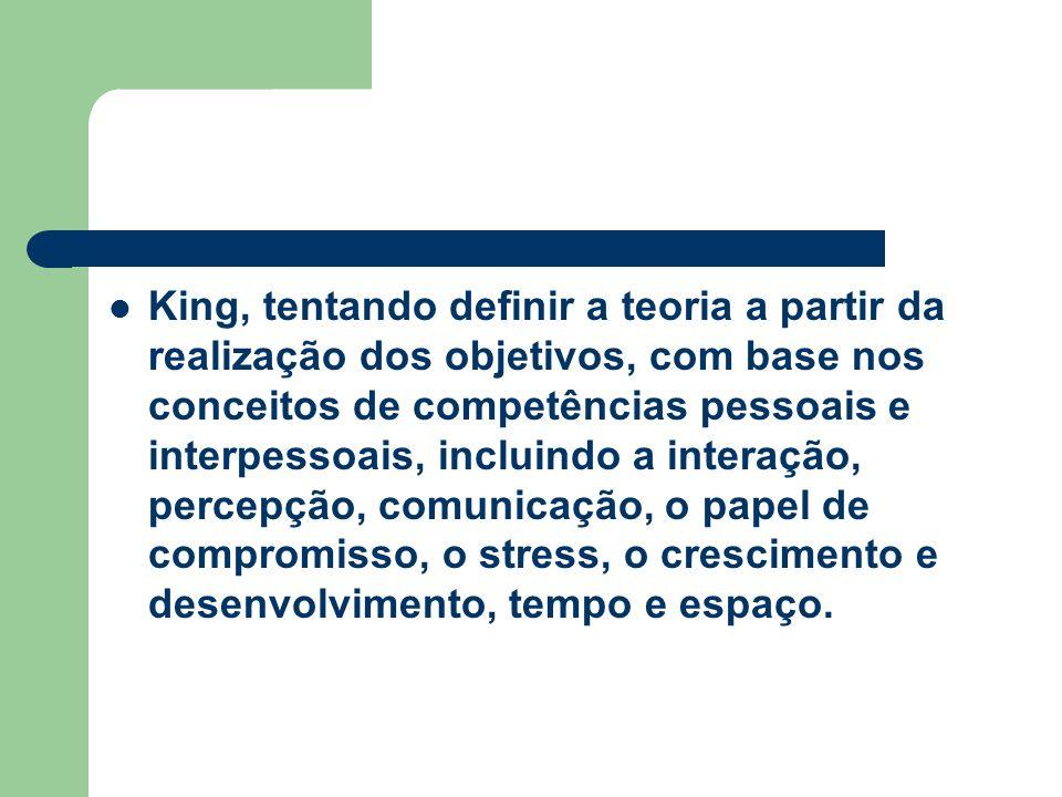 King, tentando definir a teoria a partir da realização dos objetivos, com base nos conceitos de competências pessoais e interpessoais, incluindo a interação, percepção, comunicação, o papel de compromisso, o stress, o crescimento e desenvolvimento, tempo e espaço.