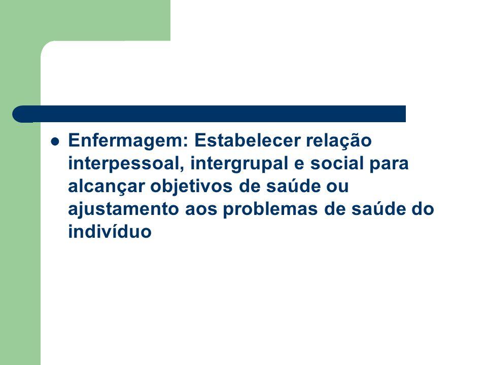 Enfermagem: Estabelecer relação interpessoal, intergrupal e social para alcançar objetivos de saúde ou ajustamento aos problemas de saúde do indivíduo