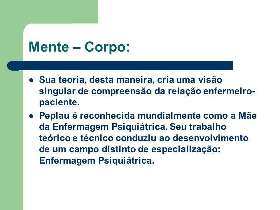 Mente – Corpo: Sua teoria, desta maneira, cria uma visão singular de compreensão da relação enfermeiro-paciente.