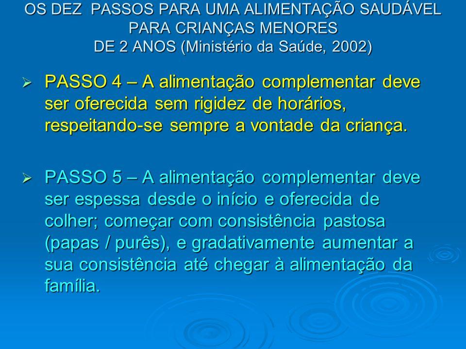 OS DEZ PASSOS PARA UMA ALIMENTAÇÃO SAUDÁVEL PARA CRIANÇAS MENORES DE 2 ANOS (Ministério da Saúde, 2002)