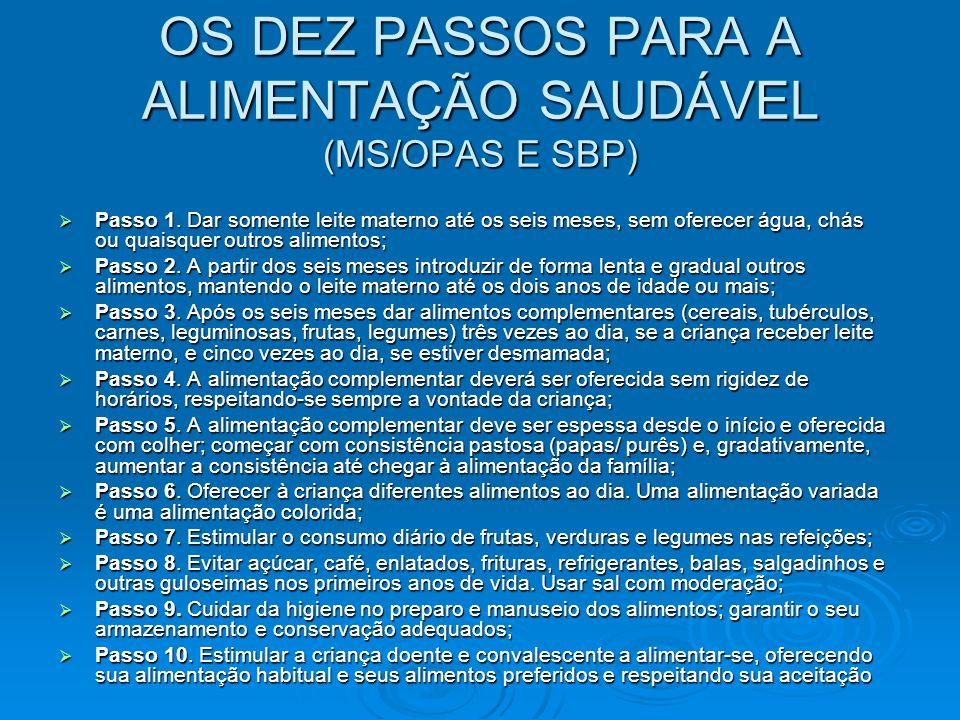 OS DEZ PASSOS PARA A ALIMENTAÇÃO SAUDÁVEL (MS/OPAS E SBP)
