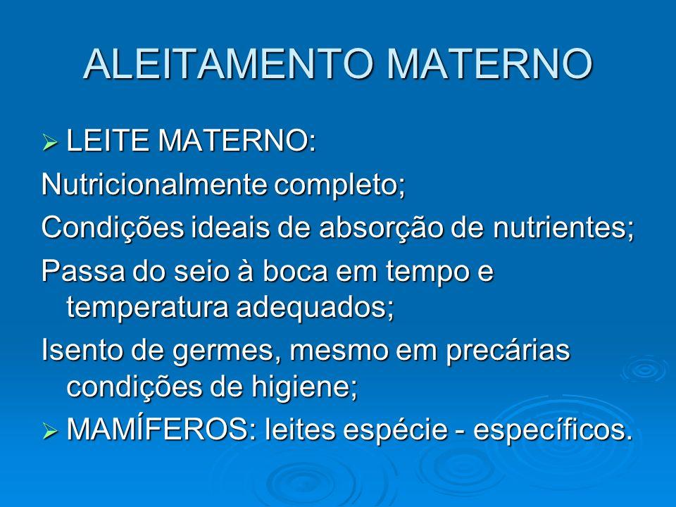 ALEITAMENTO MATERNO LEITE MATERNO: Nutricionalmente completo;