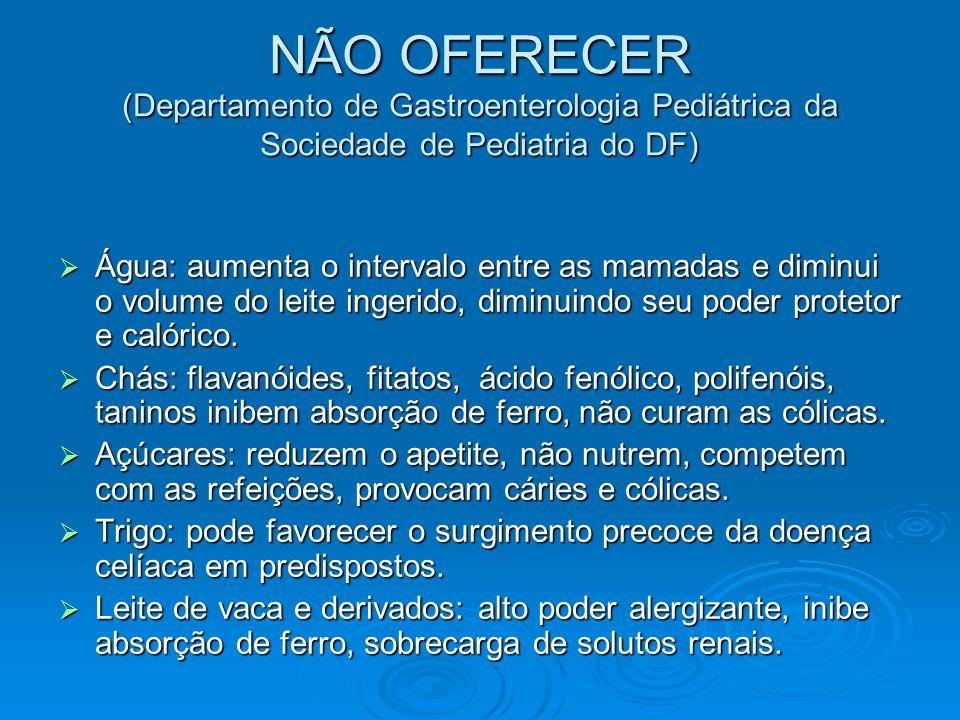 NÃO OFERECER (Departamento de Gastroenterologia Pediátrica da Sociedade de Pediatria do DF)