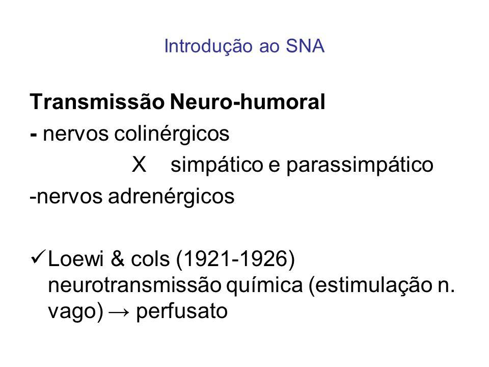 Transmissão Neuro-humoral - nervos colinérgicos