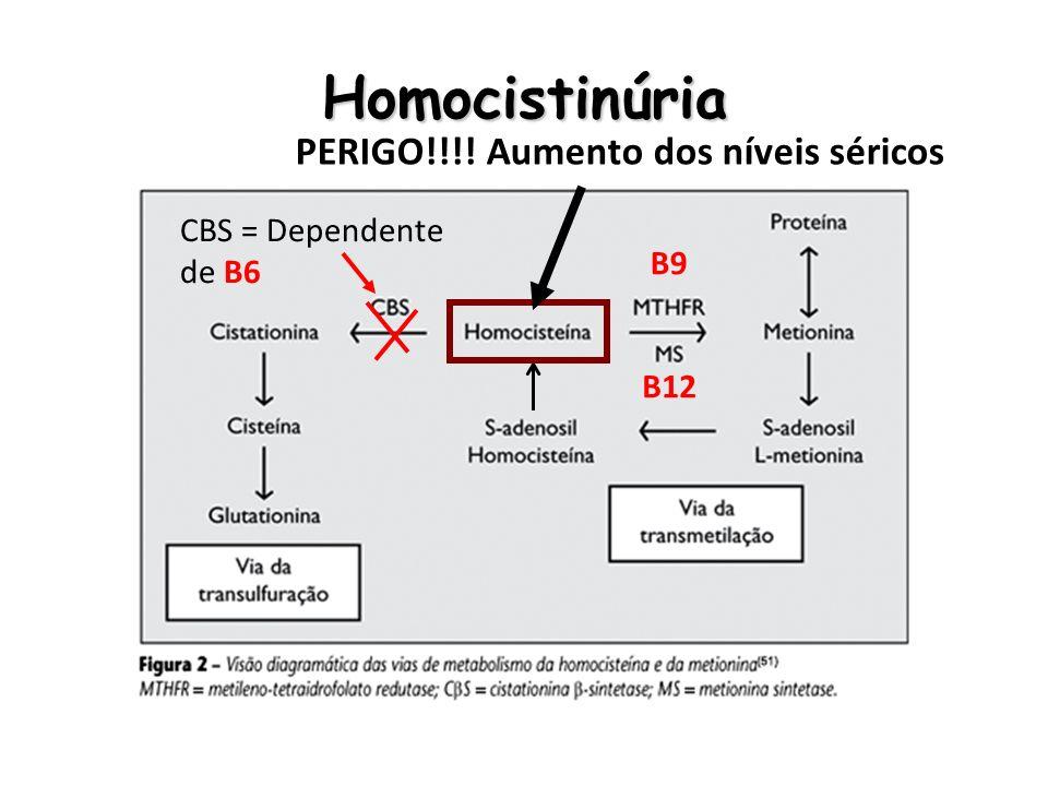 Homocistinúria PERIGO!!!! Aumento dos níveis séricos CBS = Dependente