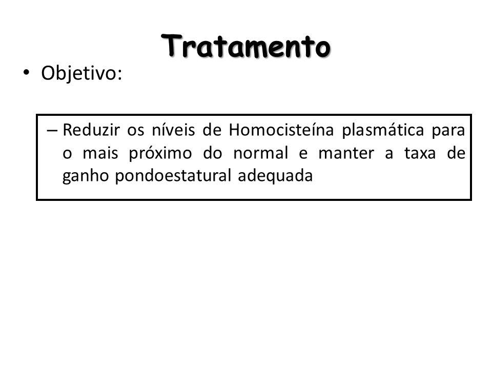 Tratamento Objetivo: Reduzir os níveis de Homocisteína plasmática para o mais próximo do normal e manter a taxa de ganho pondoestatural adequada.