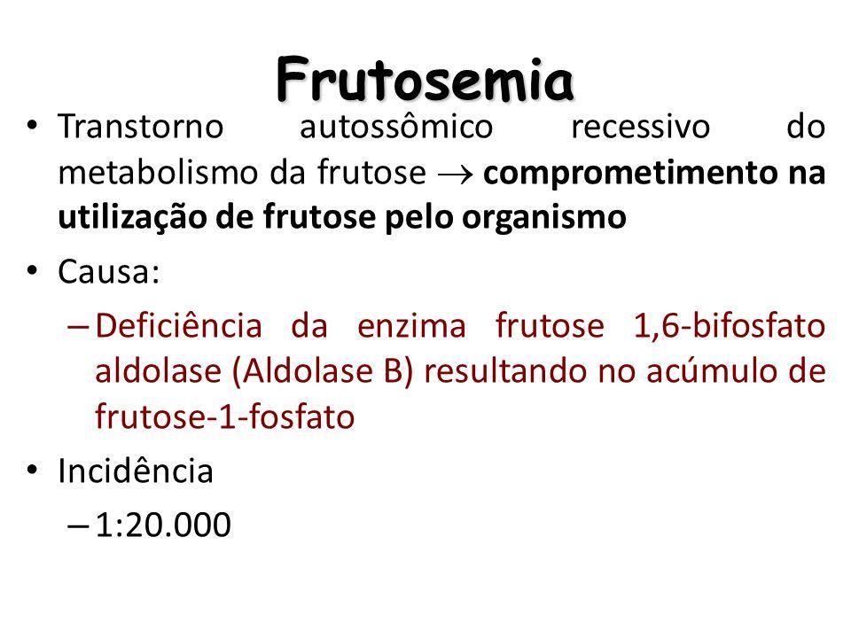 Frutosemia Transtorno autossômico recessivo do metabolismo da frutose  comprometimento na utilização de frutose pelo organismo.