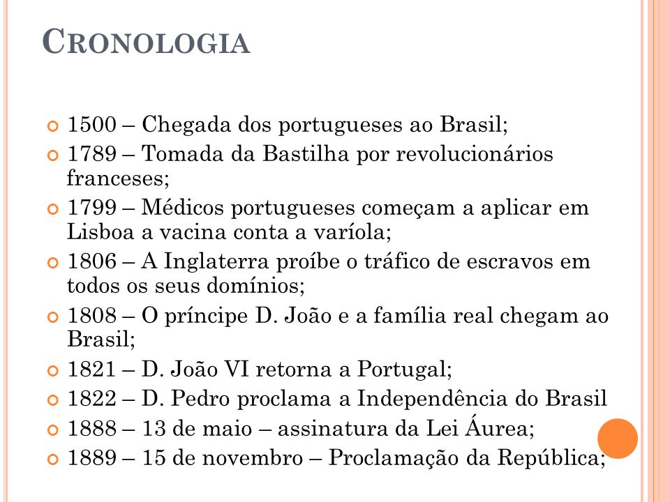 Cronologia 1500 – Chegada dos portugueses ao Brasil;