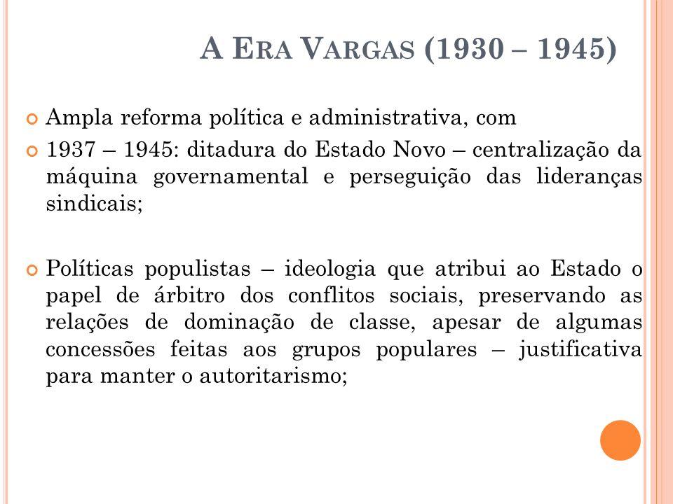 A Era Vargas (1930 – 1945)Ampla reforma política e administrativa, com.