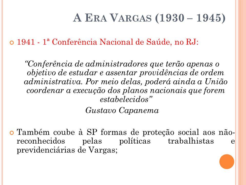 A Era Vargas (1930 – 1945) 1941 - 1ª Conferência Nacional de Saúde, no RJ: