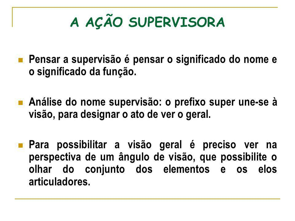 A AÇÃO SUPERVISORA Pensar a supervisão é pensar o significado do nome e o significado da função.