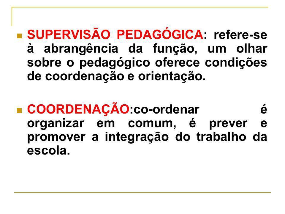 SUPERVISÃO PEDAGÓGICA: refere-se à abrangência da função, um olhar sobre o pedagógico oferece condições de coordenação e orientação.