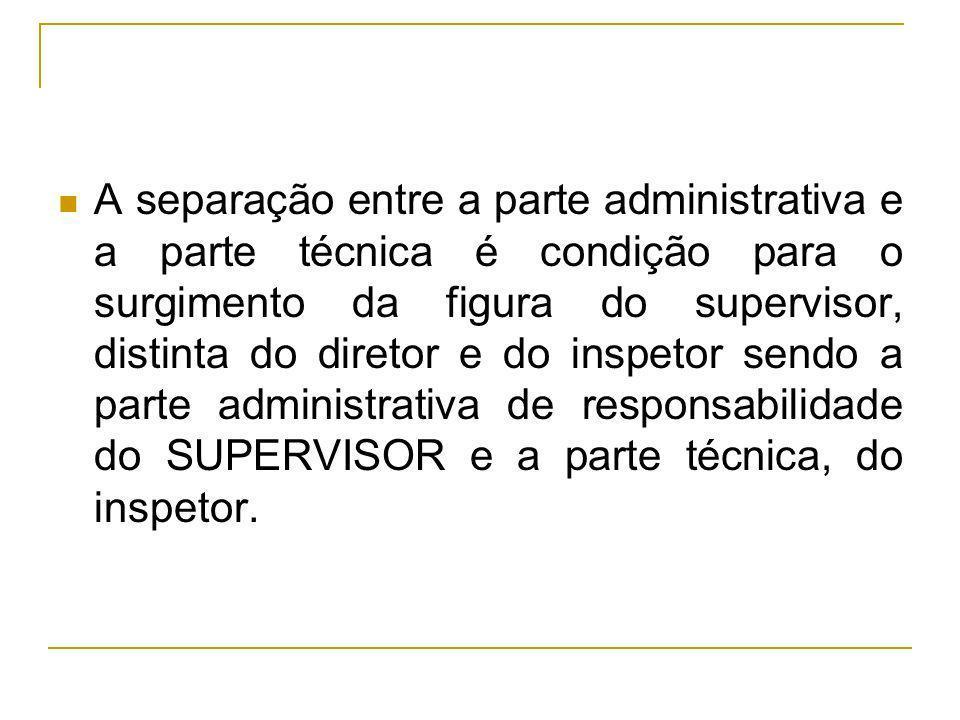 A separação entre a parte administrativa e a parte técnica é condição para o surgimento da figura do supervisor, distinta do diretor e do inspetor sendo a parte administrativa de responsabilidade do SUPERVISOR e a parte técnica, do inspetor.