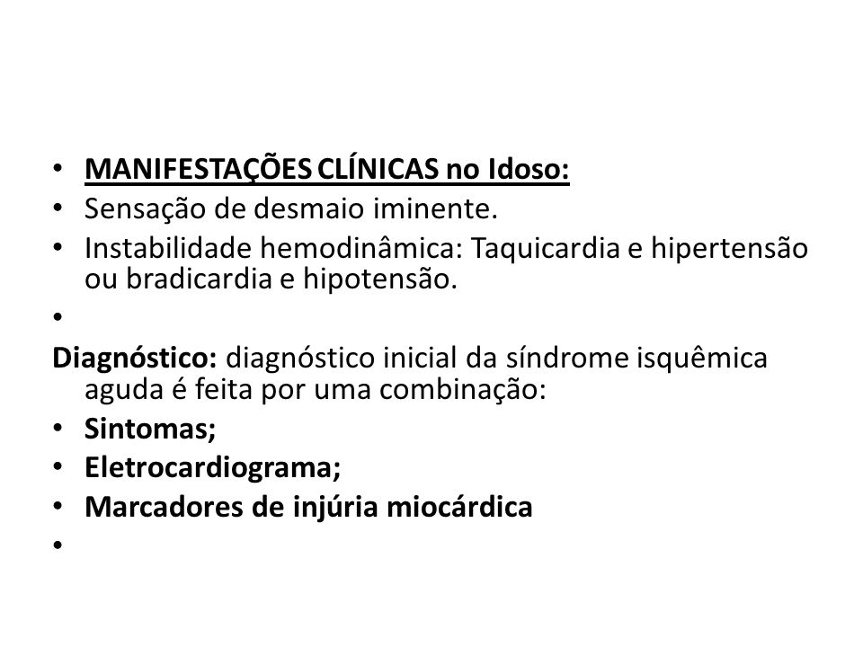 MANIFESTAÇÕES CLÍNICAS no Idoso: