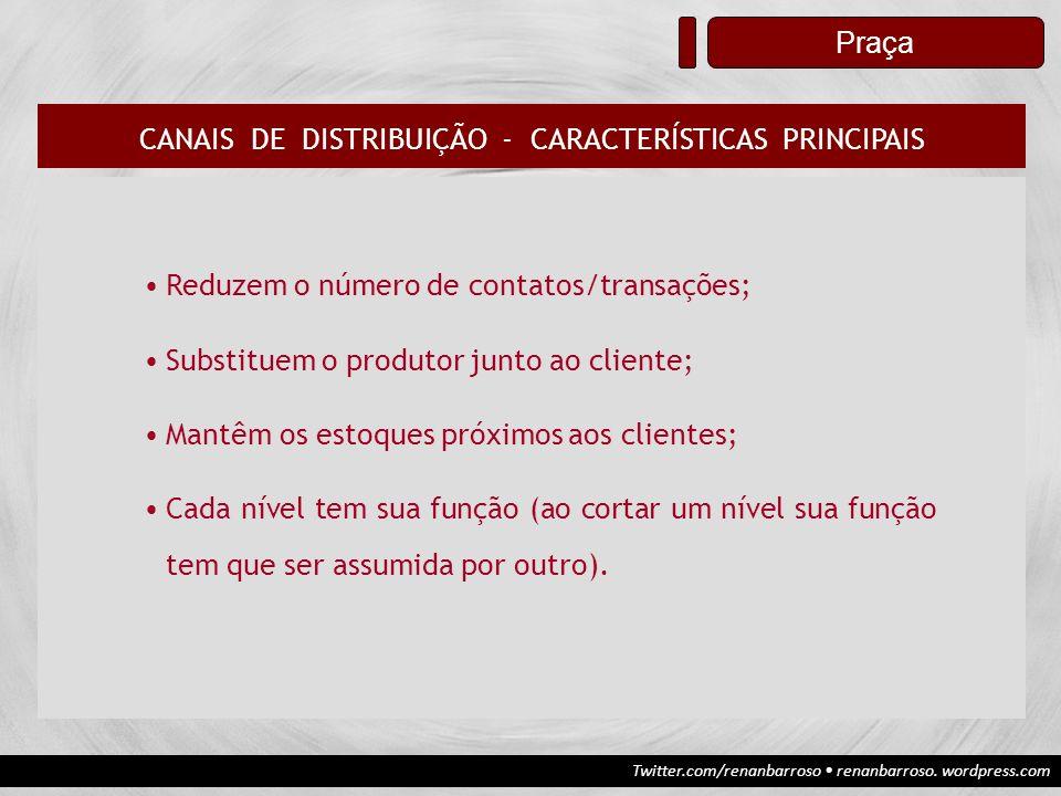 CANAIS DE DISTRIBUIÇÃO - CARACTERÍSTICAS PRINCIPAIS
