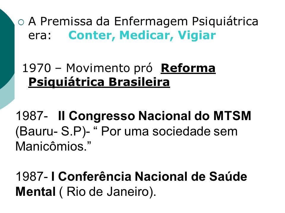 1987- I Conferência Nacional de Saúde Mental ( Rio de Janeiro).