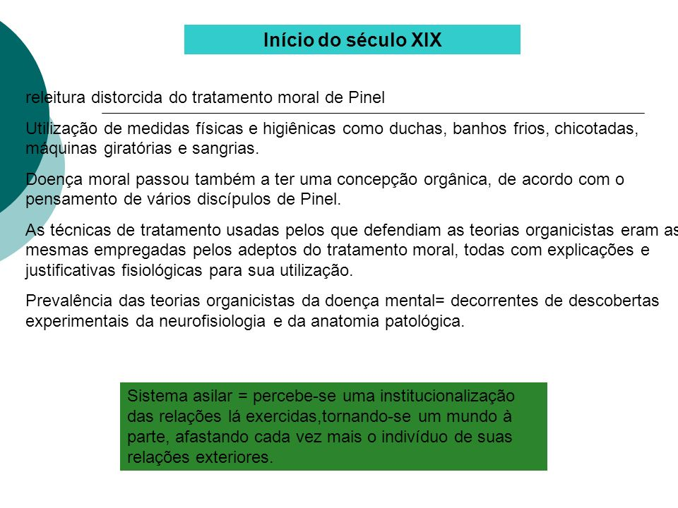 Início do século XIX releitura distorcida do tratamento moral de Pinel