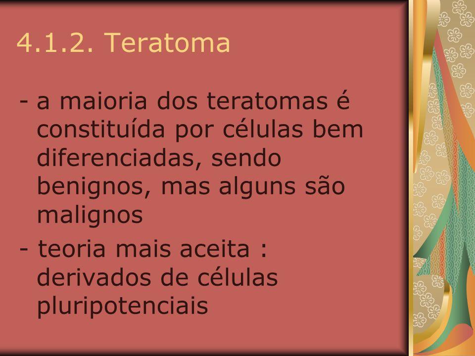 4.1.2. Teratomaa maioria dos teratomas é constituída por células bem diferenciadas, sendo benignos, mas alguns são malignos.
