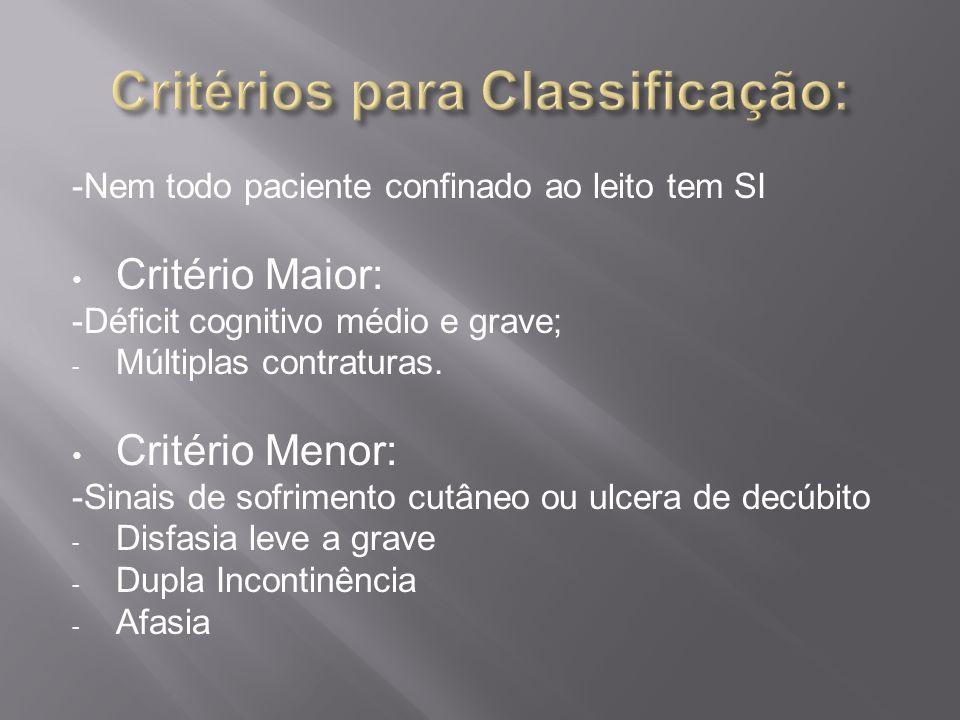 Critérios para Classificação: