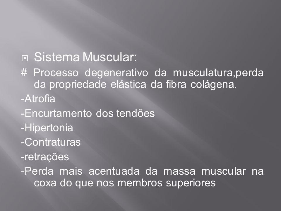 Sistema Muscular: # Processo degenerativo da musculatura,perda da propriedade elástica da fibra colágena.
