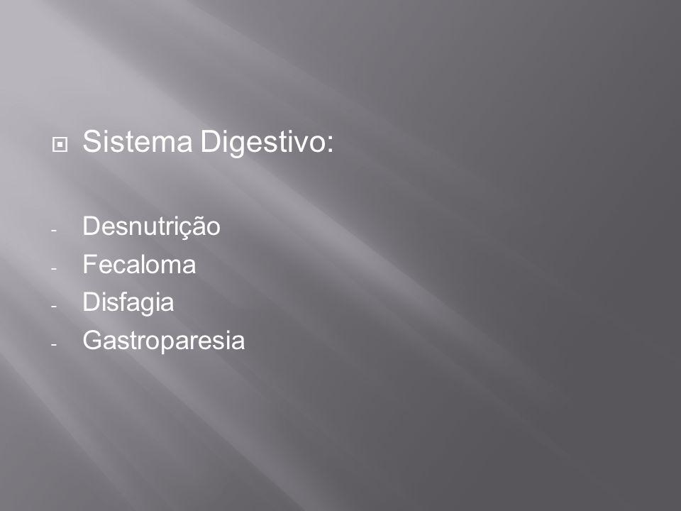 Sistema Digestivo: Desnutrição Fecaloma Disfagia Gastroparesia