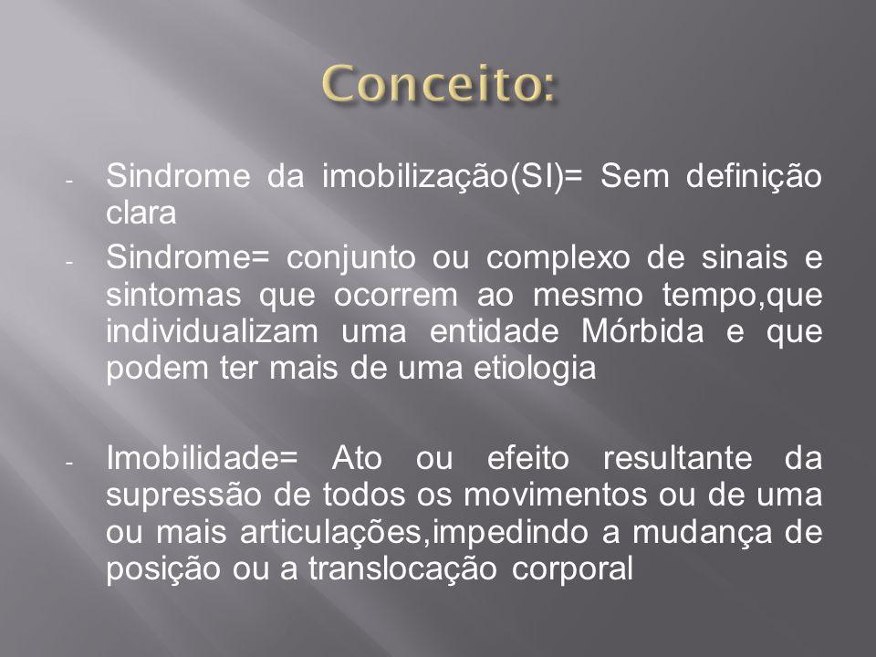 Conceito: Sindrome da imobilização(SI)= Sem definição clara