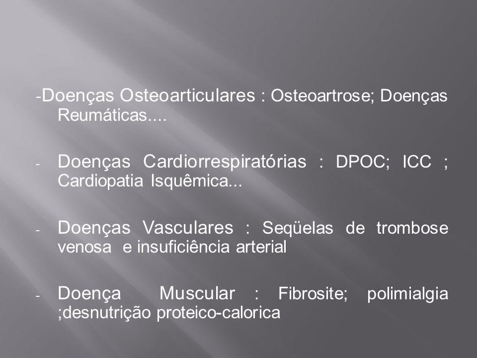 Doenças Cardiorrespiratórias : DPOC; ICC ; Cardiopatia Isquêmica...