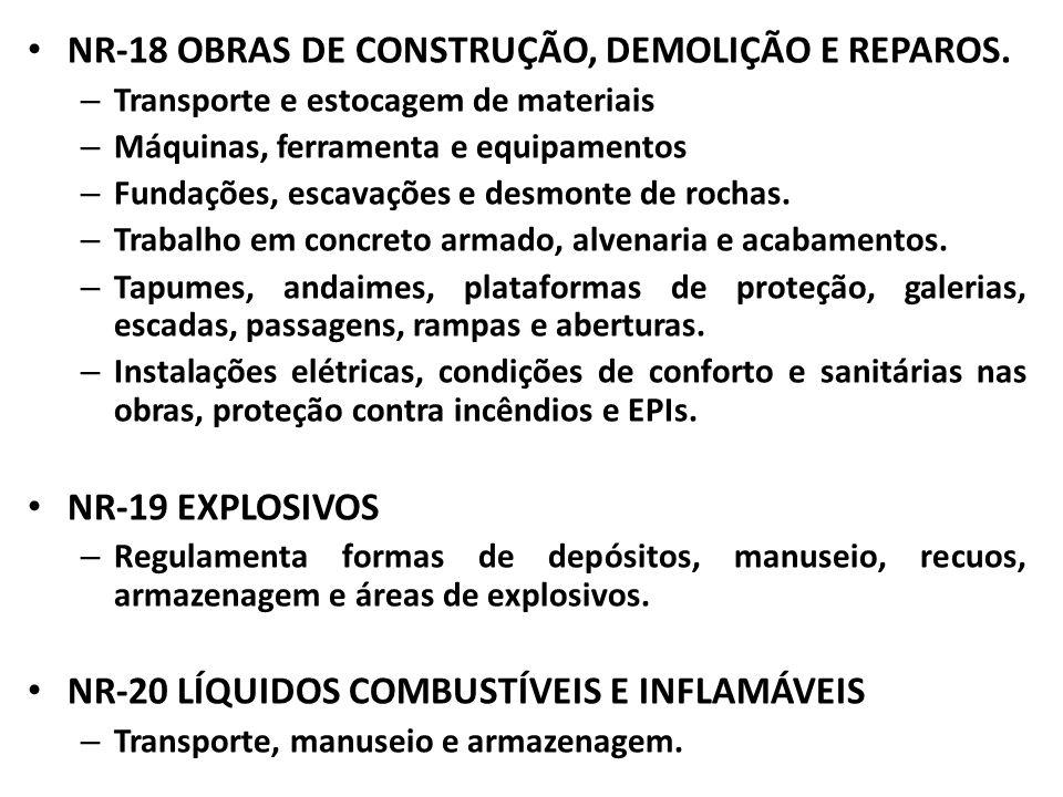 NR-18 OBRAS DE CONSTRUÇÃO, DEMOLIÇÃO E REPAROS.