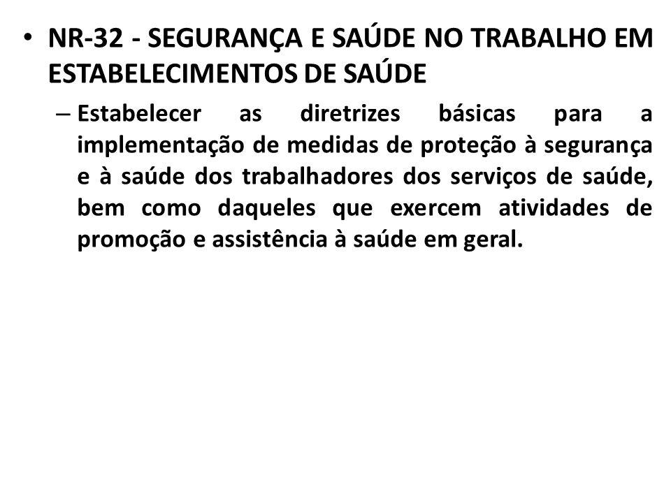 NR-32 - SEGURANÇA E SAÚDE NO TRABALHO EM ESTABELECIMENTOS DE SAÚDE